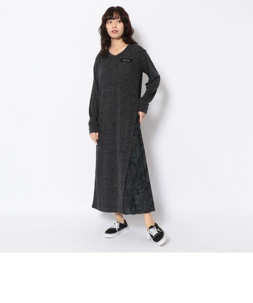 リブニットライククロス プリーツワンピースドレス/ RIB KNIT LIKE CLOTH/PLEATED ONE PIECE DRESS