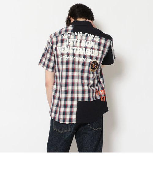 半袖 リメイク パッチド チェックシャツ/ S/S CHECK REMAKE PATCHED SHIRT/AVIREX/アヴィレックス