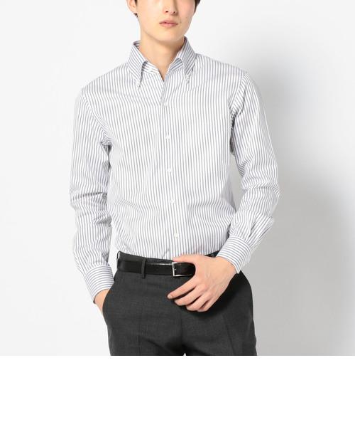 SD: 【GIZAコットン】 ロンドンストライプ イタリアンボタンダウンシャツ(グレー)