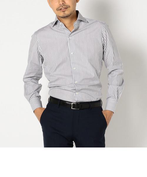 SD: ALBINI社製生地 グレーストライプ ホリゾンタルカラーシャツ