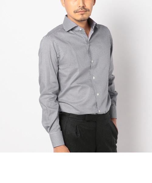 SD: ALBINI社製生地 ミニギンガムチェック ホリゾンタルカラーシャツ