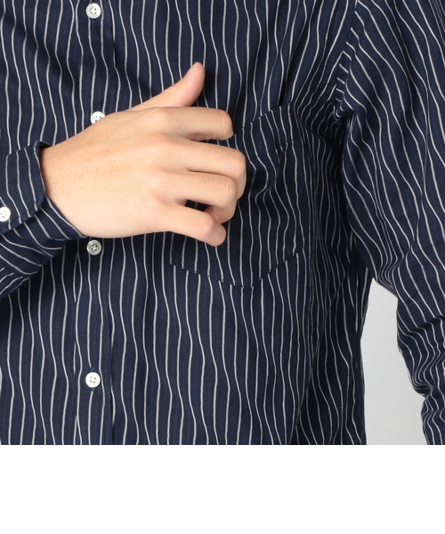 SC: SHIPS(シップス) ヨロケ ストライプ セミワイドカラーシャツ