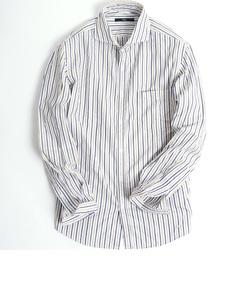 SC: ヘリンボーン/ドビー ストライプ セミワイドカラーシャツ