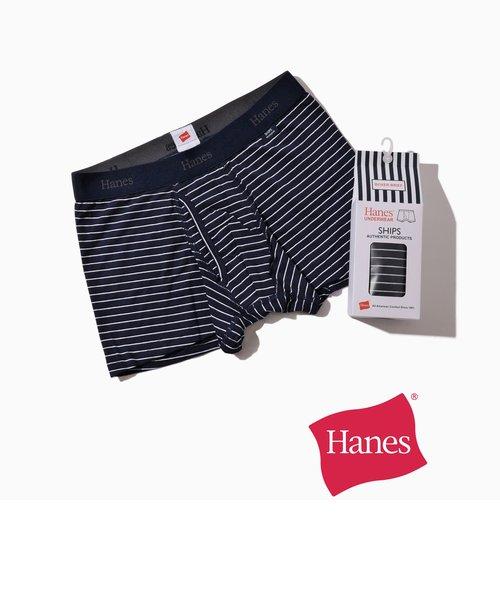Hanes×SHIPS: 消臭糸使用 コットン ストレッチ ボーダー ボクサーパンツ