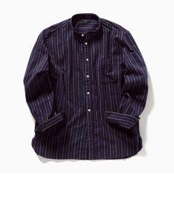 SC: ストライプ バンドカラー ネルシャツ