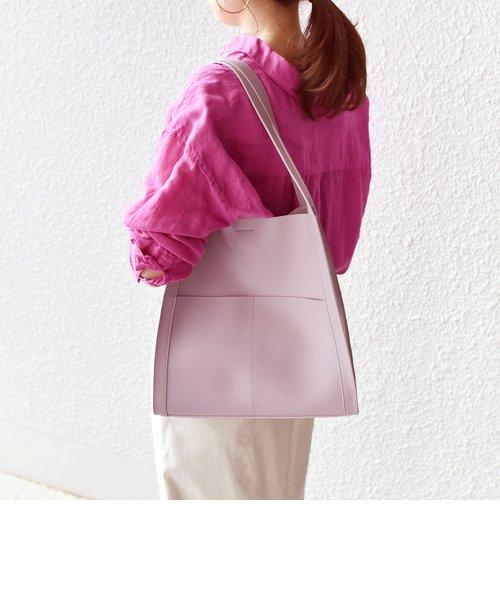 フェイクレザーサイドポケットデザインバッグ◇