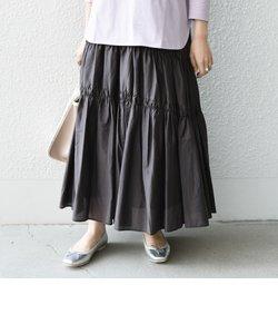 SHIPS any: シルク ギャザー ティアード スカート〈ウォッシャブル〉