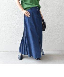 【SHIPS別注】BIT BLUE:プリーツデニムスカート◇