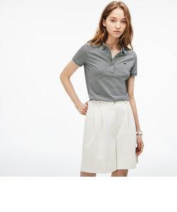 スリムフィット 細ボーダー ストレッチ ポロシャツ (半袖)