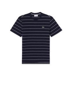 ボーダー コットンジャージー クルーネックTシャツ (半袖)