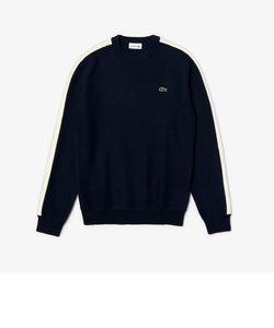 ショルダー編み変えコットンニットセーター