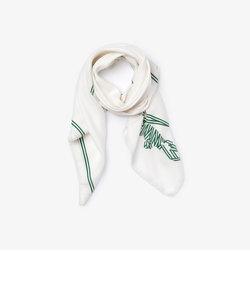 クロコダイルプリントコットン×シルクスカーフ