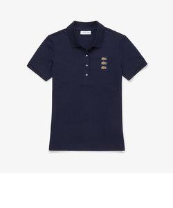 スリムフィット トリプルワニロゴデザインポロシャツ(半袖)