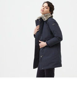 透湿防水 ウールミックス ファー付カラー ロングダウン ジャケット