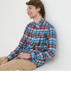 コットンフランネル 長袖チェックシャツ