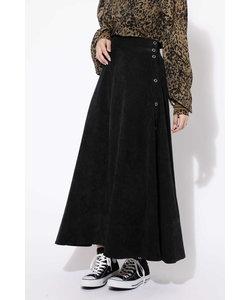 サイドボタンフレアロングスカート