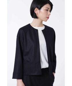ウールカルゼニットノーカラージャケット[HUMAN WOMAN Japan couture]
