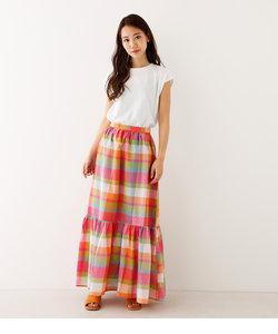 マドラスチェックロングスカート
