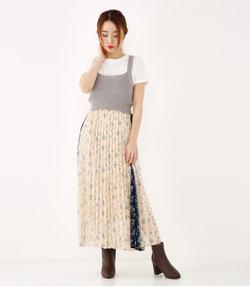Blurry Flowerプリーツスカート