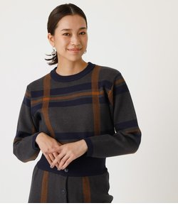 BIG CHECK KNIT TOPS