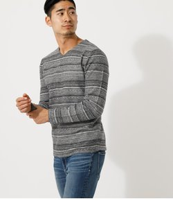 【MEN'S】SINGLE JACQUARD V/N KNIT