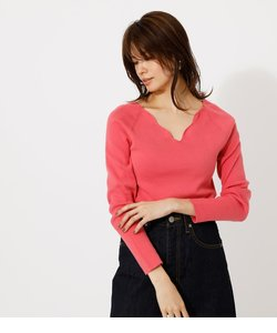 SCALLOP KNIT TOPS