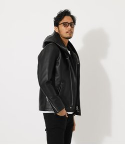 【MEN'S】ECO LEATHER HOOD JACKET