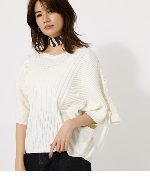 2WAY SHOULDER LACE-UP KNIT