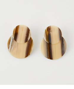 STRIPE MARBLE ROUND EARRINGS