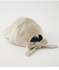 LINEN LIKE BACK RIBBON CAP