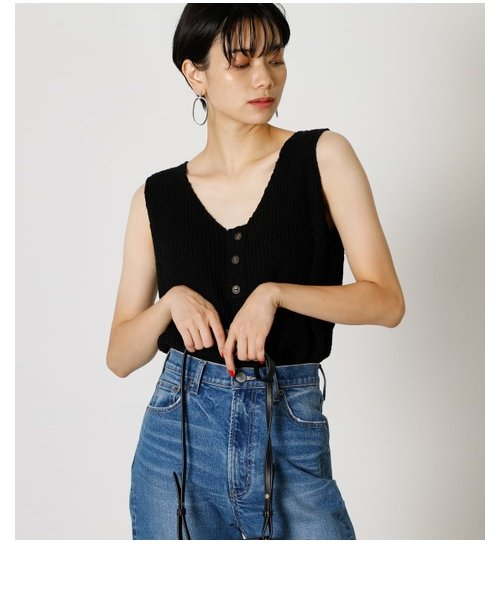 FRONT BUTTON KNIT TANK