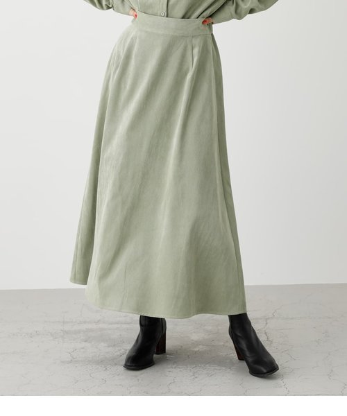 CORDUROY FLARE LONG SKIRT