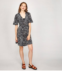 DYE FLOWER WRAP DRESS