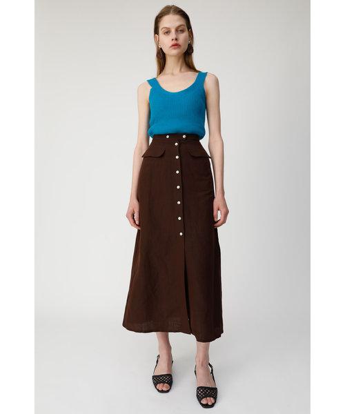FRONT BUTTON LINEN BLEND スカート