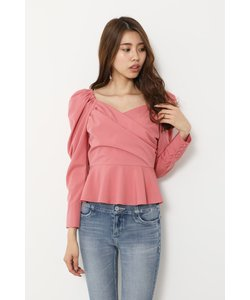 Mutton Sleeve Peplum TOP