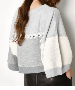 PATCH WORK WIDE SLEEVE SW TOPS