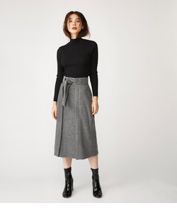 FRONT BELTED WOOL LIKE SK