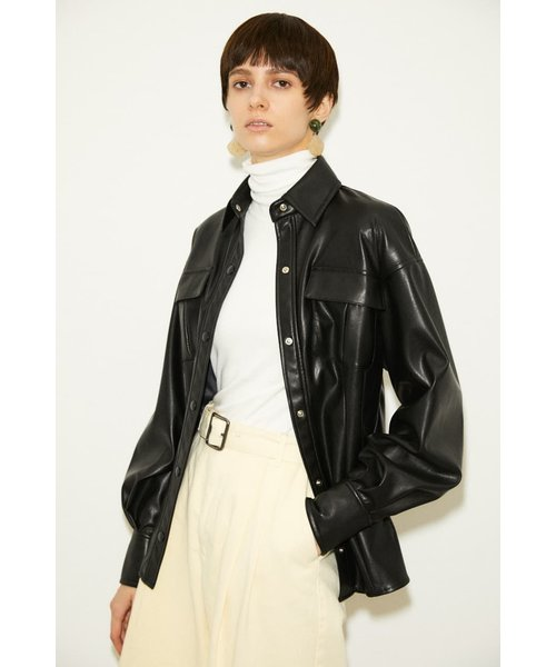 【THROW】VEAGAN LEATHER TUCKED シャツ