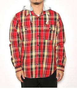 ヘビーツイルチェック フード付きシャツ