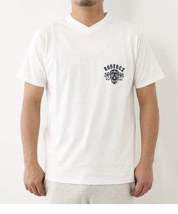 スカル プリント Vネック Tシャツ