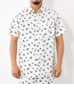 缶ビール プリント 半袖 シャツ