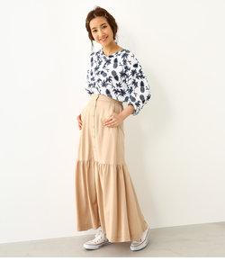 ローフレア フロント ボタン スカート