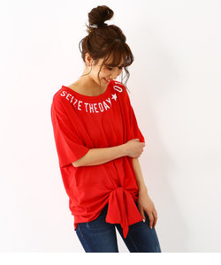 ネックロゴ フロント ノット Tシャツ