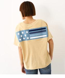 ブロッキング デニム フラッグ Tシャツ