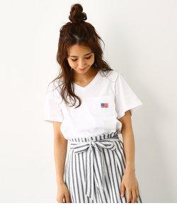 ピグメント 裾ロゴ Vネック Tシャツ