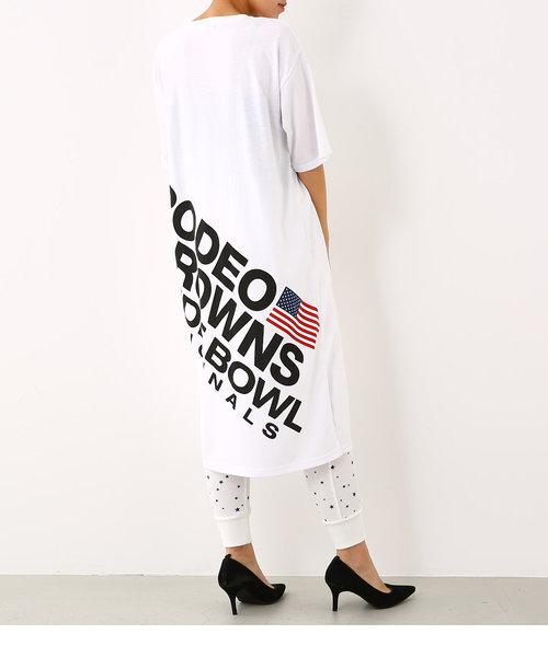 バック スラッシュ ロゴ Tシャツ ワンピース