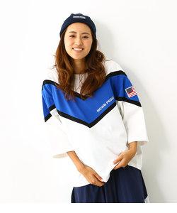 PEAC 切替 V7分袖トップス