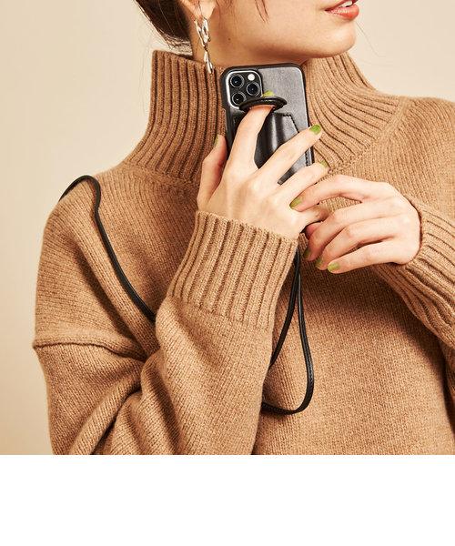 【WEB限定】∴<Hashibami>レザーダブルリングiPhone XR/11ケース -3WAY-