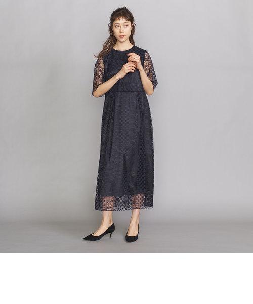 BY DRESS フラワーレース5分袖ドレス