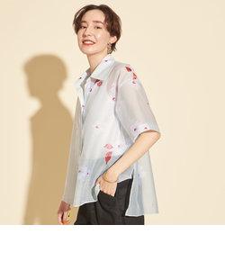 BY∴ シアーフラワープリント ショートスリーブシャツ -ウォッシャブル-